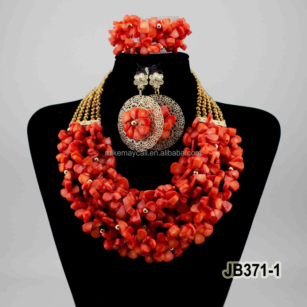 JB371-1 High Quality coral color africa coral bead jewelry <strong>set</strong> for party