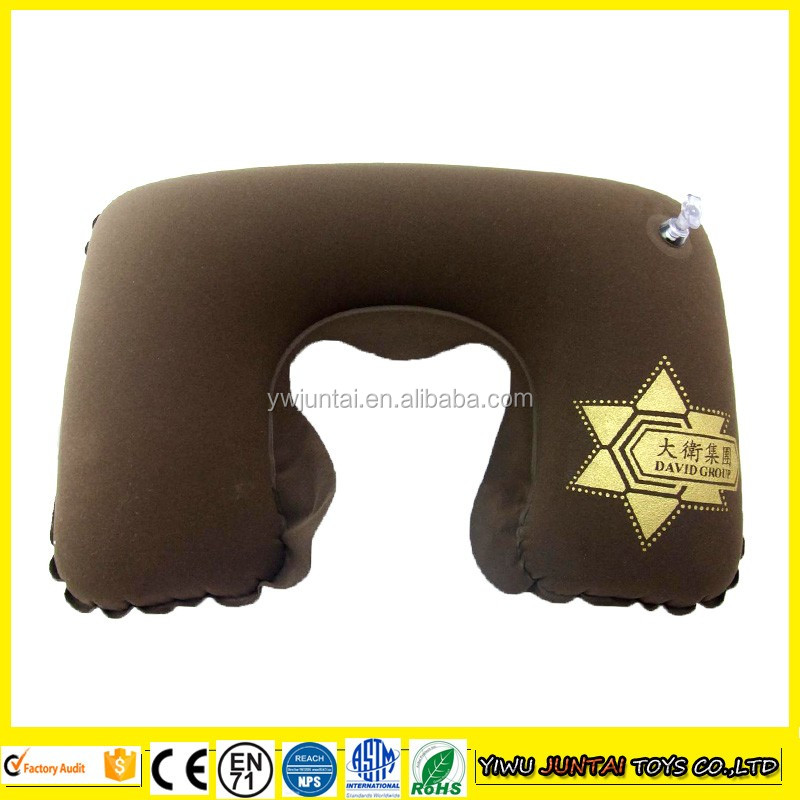 Cheap custom logo printed U shape flocking pvc inflatable armrest pillow