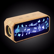 Touch Screen Color LED Light USB Computer Blue Tooth Bamboo Wood Speaker