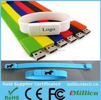 memory 1GB USB flash drives,Colorful waterproof USB bracelet,promotional waterproof silicone wristband USB