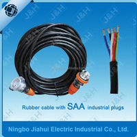 australian heavy duty flexible rubber PVC cable with industrial plugs, Australian certified extension cable with outdoor plugs