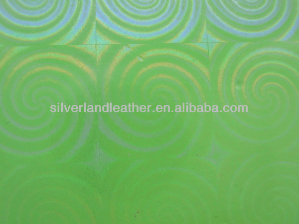 Light green mirror tabby synthetic leather for decorating sofa home textile.