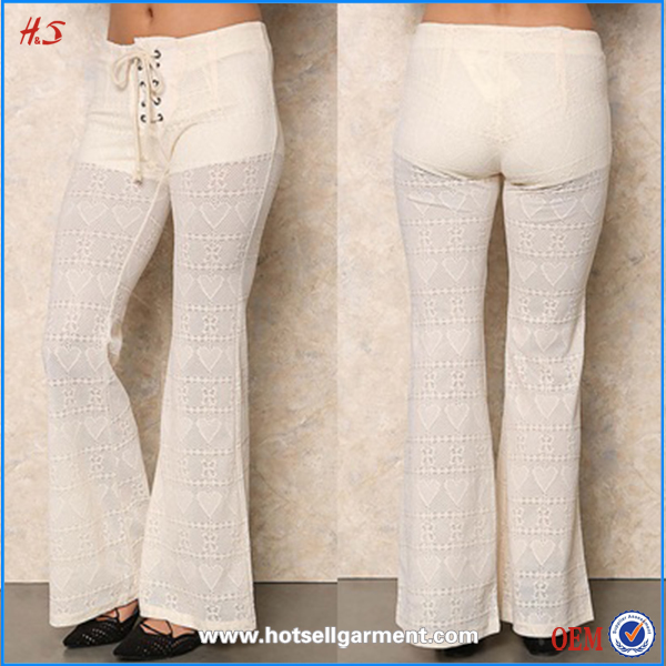 Women Fashion Casual Lace pants Long Loose Pants Ladies Lace Open Crotch Pants