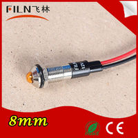 24v Diameter 8mm LED Orange color battery powered indicator with wire 100pcs/lot