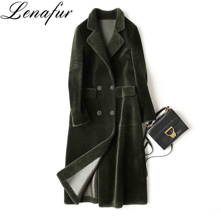 Beige Green Blue Long Slim Lamb Skin Leather Fur Trench Coat,Leather Shearling Coat For Women