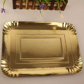 Different shape custom printed food grade aluminum foil gold paper plate Disposable plate