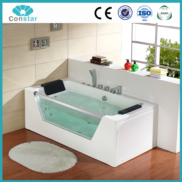 Pure acrylic single person composite ABS new material prefab portable fancy hot massage bathtub