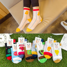 Novelty creative fruits pattren cotton women tube socks for winter