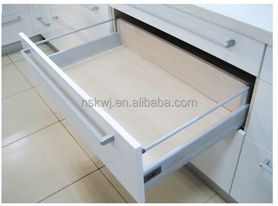 full extension soft close tandem boxes in China,metal box drawer slide with Gallery rod