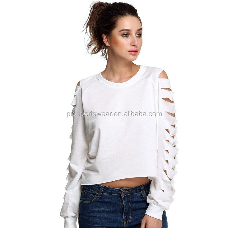 Customer-made Fashion New Women O-Neck Cut Long Sleeve Loose Shirt Pullover Casual Crop Top Hole Decoration blusas femininas