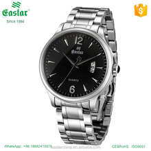 Chinese manufacture mens watch stainless steel back quartz movement watch with date