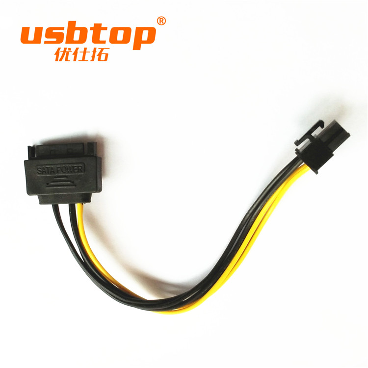 USBTOP BRAND 15pin SATA Power to 6pin PCI-e PCI Express Adapter Cable Video Card