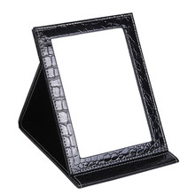 Cheap makeup mirror travel leather strong portable foldable table mirror