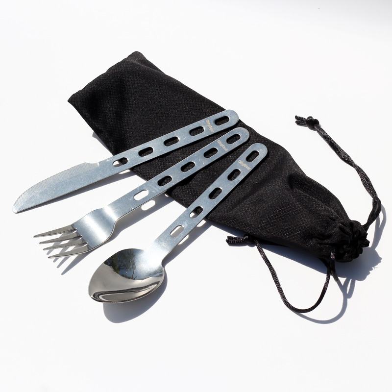 QingGear Portable Camping Hiking Cutlery Set Fork Spoon Knife with Ring Picnic Tableware Utensils with nylon Pouch