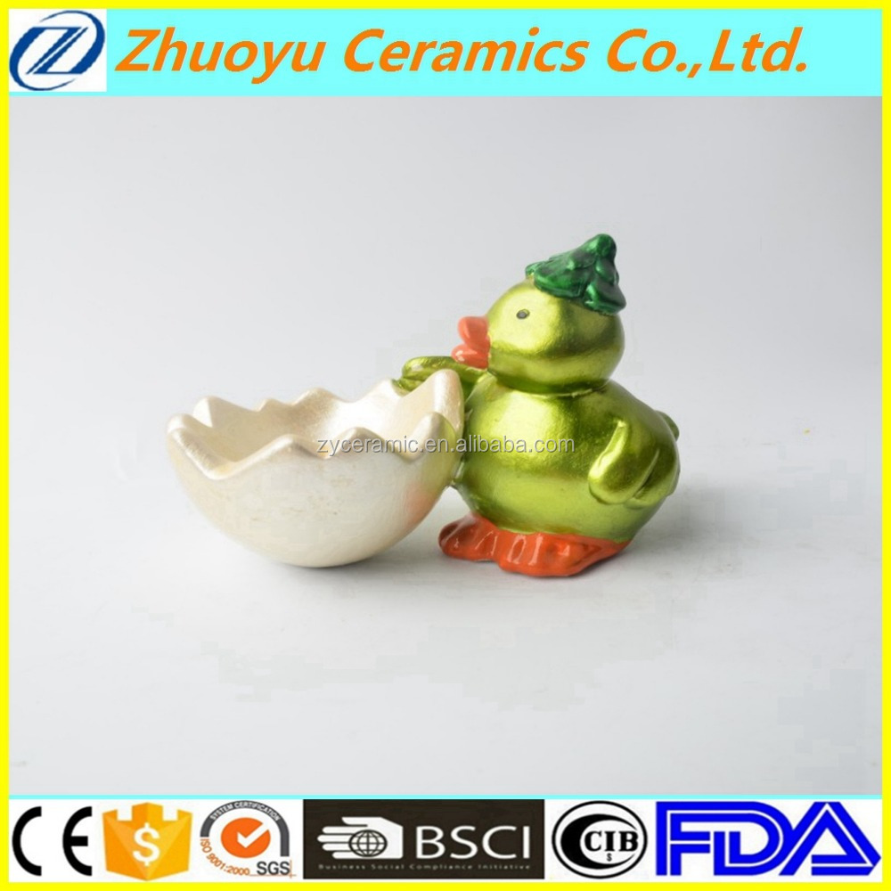 Cute ceramic duck with egg shell bowl