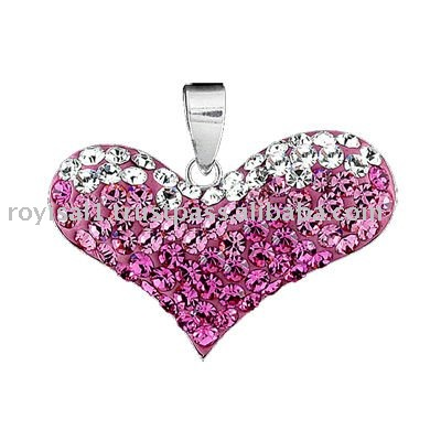 Crystal Edge Heart Pendant Silver Jewelry