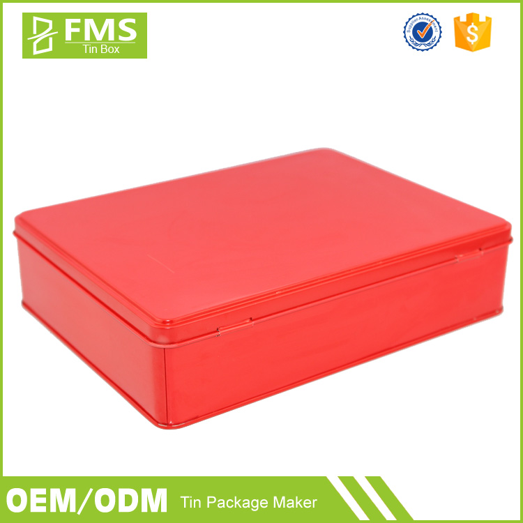 Custom Printed Decorative Europe Holiday Hinged Metal Tin Biscuit Cookie Packaging Box With Lid