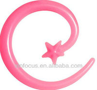 Pink Acrylic Shooting Star Spiral Taper body jewelry