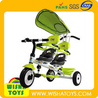Hot ! 2 seats kids tricycle for Twins /two seats twins tricycle and Canopy and safe belt A