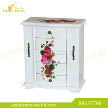 Luxury Vintage Floral White Cabinet Wooden Jewelry Box