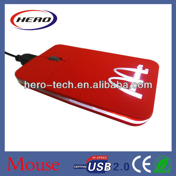 Mini Flat Pocket Mouse with light up logo
