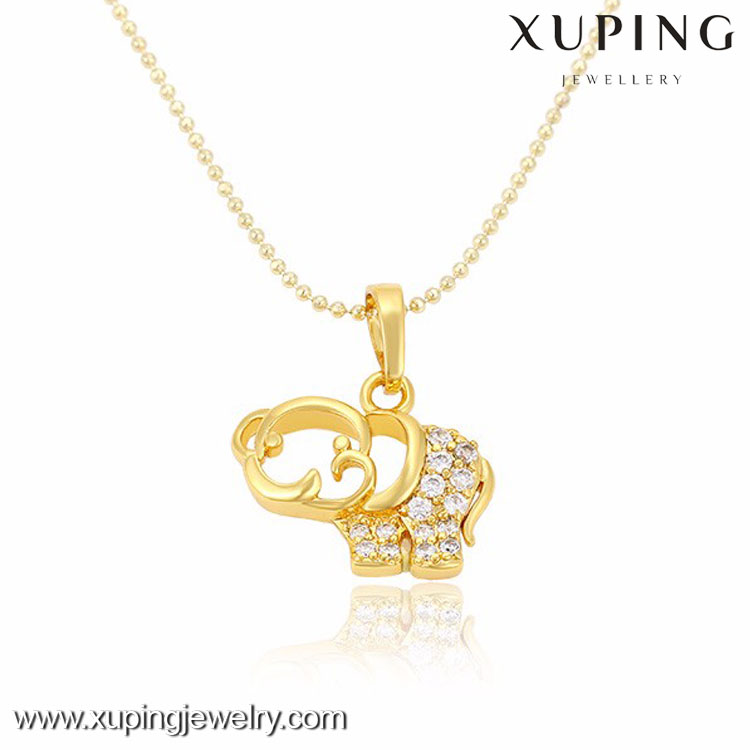 32343 xuping fashion dubai gold plating jewelry, womens zircon cute little elephant <strong>pendant</strong>