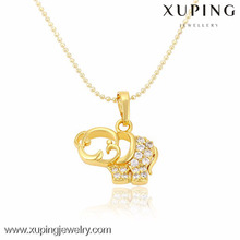 32343 xuping fashion dubai gold plating jewelry, womens zircon cute little elephant pendant