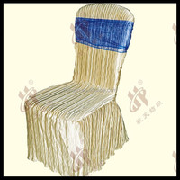 wedding chair cover with organza sashes /wedding decoration 100% polyester chair cover