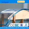 Curved glass panels of tempered glass