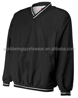 Mens polyester woven with cotton white lining with ribbed v neck long sleeves golf pullover jacket
