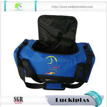 Blue custom logo print model bulk young sports travel bags with side zipper pockets