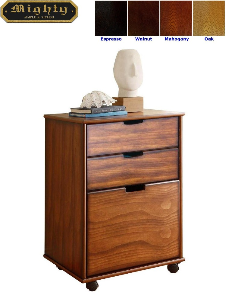 Home Office Three Drawer Wooden File Cabinet
