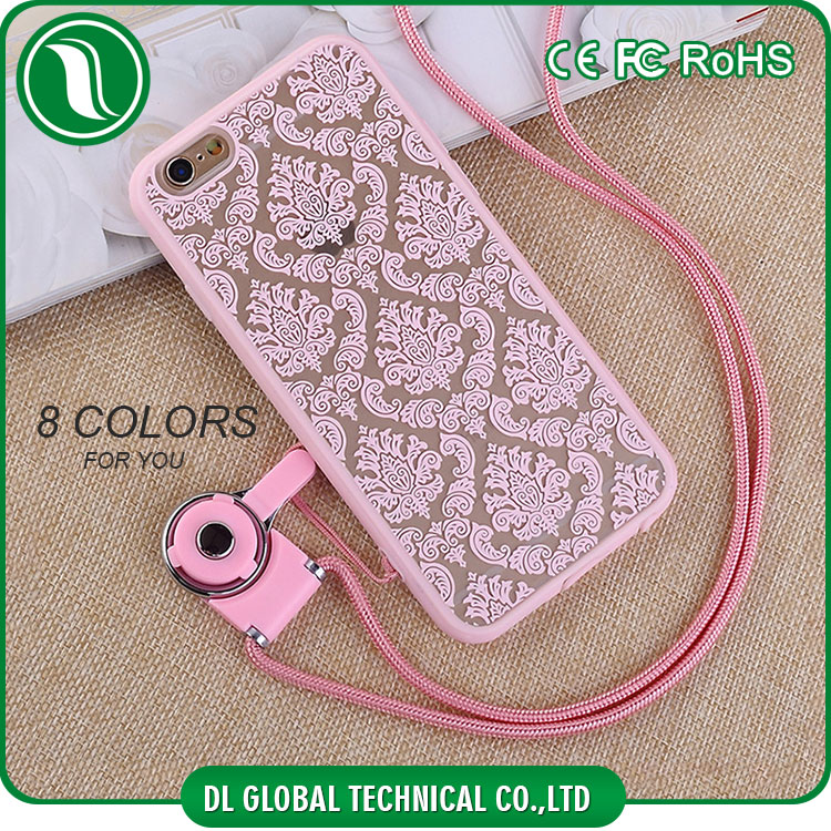 Soft tpu frame and acrylic back cover printing flower case with lanyard for iphone 6s plus