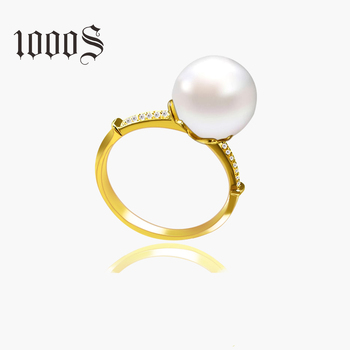 Classic Pearl Ring 18K Gold Diamond Wedding Ring Design for Women Engagement