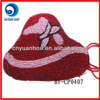 red hat shaped beaded coin purse