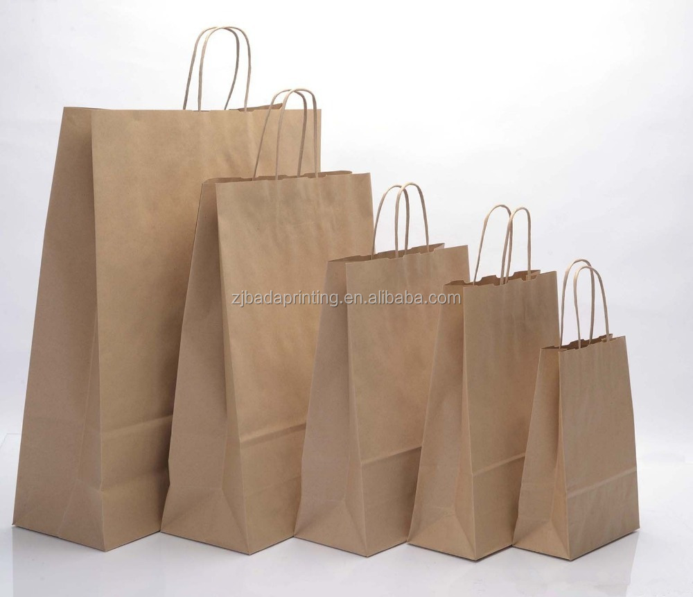 Brown Craft Paper Bag With Rope Handle/ Customized Shopping Paper Bags