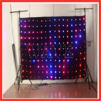 HOT WLK-1P9 Black fireproof Velvet cloth RGB 3 in 1 leds vision curtain backdrop full color stage video led