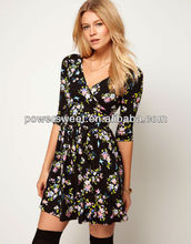 commuter bangkok girls floral printed half sleeve cotton dress wholesale for young girls