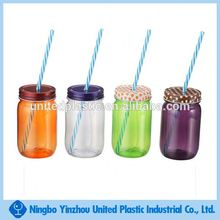 Best selling 500ml colorful reusable plastic mason jars with metal lid and straw