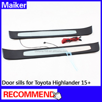 Door sill with LED for Toyota Highlander 15+ auto part 4*4 accessories 2 pcs from Maiker