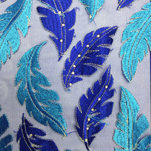High quality Blue African Lace Embroidery Sequins Textiles Tulle Net Pattern French Lace Fabric