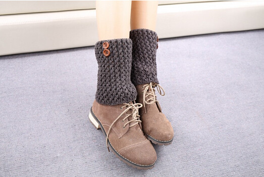 Knitted Boot Cuffs Leg Warmers Wooden Buttons Boot Toppers