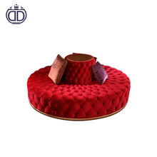 New model product hotel circular modern lobby red tufted round sofa design red velvet sectional button-tufted sofa