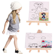 Easel and Sketch Canvas Painting Board Set for kids painting  8 Design Pre Printed Painting Canvas and Easel Without Paint