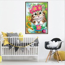 Cute cat picture diamond painting kids diy 5D diamond painting