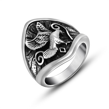 Vintage Men Bald Eagle Motorcycle Titanium Steel Stainless Steel Biker Ring