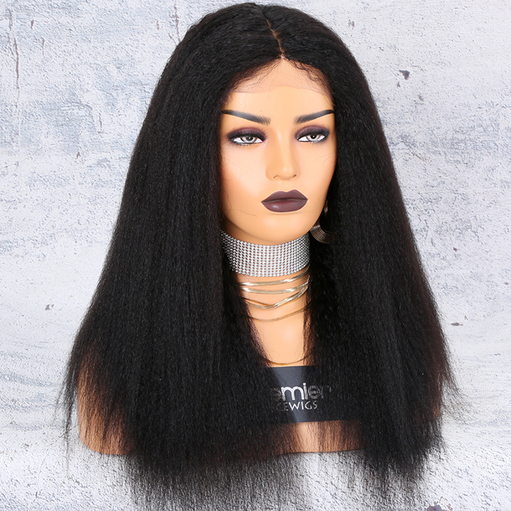 Premier Factory Fast Shipping Kinky Straight Brazilian Virgin Human Hair Full Lace Wig