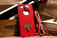 Red showkoo leather universal mobile phone shoulder bags pouch case for iphone 4g 4s with neck strap +retail packing