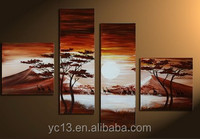 4pcs panel hand painted modern art african natural scenery oil painting PL-21