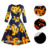 African Fancy Women Autumn Print Vintage Retro Rockabilly Cotton Belted Feminino Swing A-Line Party Bodycon Wedding Dresses